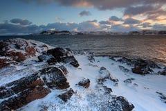 Sunrise on the Barents Sea. Teriberka, Murmansk region, Russia Royalty Free Stock Photo