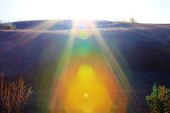 Sunrise in barkhans of Sahara desert royalty free stock photo