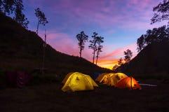 Sunrise at base camp Royalty Free Stock Images
