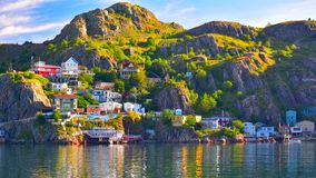 Sunrise at The Battery Panorama, St John`s Harbour, Newfoundland, Canada. An HDR panoramic image of The Battery community in St John`s harbour, Newfoundland royalty free stock image
