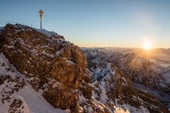 Sunrise at the Zugspitze Stock Photography