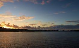 Sunrise on the bay - Grenada. Caribbean sea - Grenada island - Saint George`s - Sunrise on the bay Stock Image