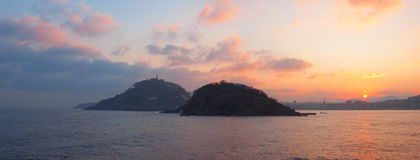 Sunrise in the Bay of La Concha, Donostia. Stock Image