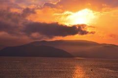 Sunrise on beach stock image