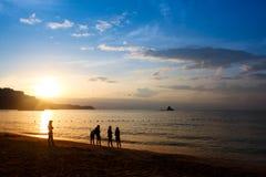 Sunrise and the beach Stock Photos