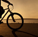 Sunrise beach. Silhouette of a cyclist at sunset Stock Photography