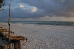Sunrise on the beach. Dongwe Beach, Zanzibar, Tanzania stock photography