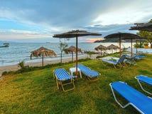Sunrise on beach (Alykes, Zakynthos, Greece) Royalty Free Stock Photo