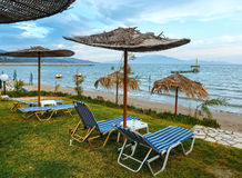 Sunrise on beach (Alykes, Zakynthos, Greece) Royalty Free Stock Image
