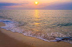 Sunrise on the beach of andaman sea Stock Images
