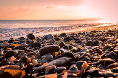 Sunrise at the beach. Beautiful sunrise on a beach in the summer of Sardinia Stock Photography