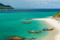 Sunrise beach with blue cloud sky in Koh Lipe island. Royalty Free Stock Photo