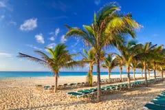Sunrise on the beach of Caribbean sea. Beach at Caribbean sea in Playa del Carmen, Mexico Stock Photo