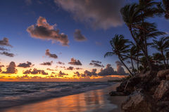 Sunrise on the beach of caribbean sea Stock Photography
