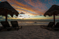 Sunrise on the Beach. Early morning on the beach with sun rising over the Mexican Caribbean Stock Images