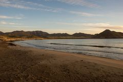 Sunrise on the beach of the Genoveses of Cabo de Gata. Spain royalty free stock image