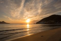 Sunrise on the beach of the Genoveses of Cabo de Gata royalty free stock image