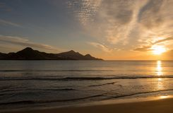 Sunrise on the beach of the Genoveses of Cabo de Gata. Spain stock photo