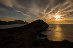 Sunrise on the beach of the Genoveses of Cabo de Gata. Spain stock image