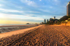 Sunrise Beach. Hua Hin in Thailand Royalty Free Stock Photography