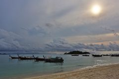 Sunrise Beach at KO LIPE on November 2014, Tarutao National Park Royalty Free Stock Photography