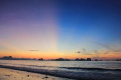 Minutes before sunrise at the beach, Koh Yao Noi, Thailand royalty free stock photo