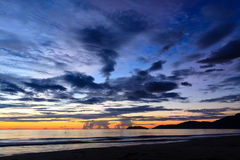 Sunrise on the beach. Sunrise on the Lang Co beach, hue, Vietnam Royalty Free Stock Images