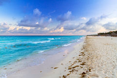 Sunrise on the beach of Mexico. Sunrise on the beach of Playa del Carmen at caribbean sea, Mexico Stock Image