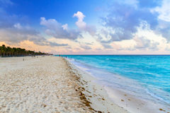 Sunrise on the beach of Mexico. Sunrise on the beach of Playa del Carmen at caribbean sea, Mexico Royalty Free Stock Images