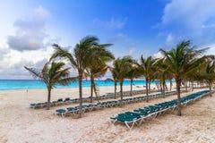 Sunrise on the beach of Mexico. Sunrise on the beach of Playa del Carmen at caribbean sea, Mexico Stock Photography