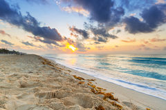 Sunrise on the beach of Mexico Stock Image