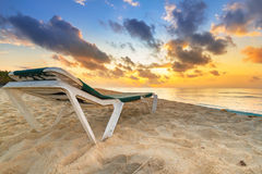 Sunrise on the beach of Mexico. Sunrise on the beach of Playa del Carmen at caribbean sea, Mexico Royalty Free Stock Image