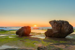 Sunrise on the beach. At Narrabeen,NSW,Australia Royalty Free Stock Photography
