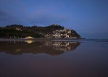 Sunrise on the beach Ondarreta, Donostia stock photos