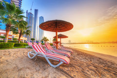 Sunrise on the beach at Perian Gulf. In Abu Dhabi Stock Images