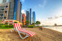 Sunrise on the beach at Perian Gulf in Abu Dhabi. United Arab Emirates Royalty Free Stock Photo