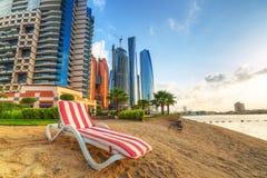 Sunrise on the beach at Perian Gulf in Abu Dhabi Royalty Free Stock Photo
