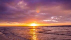 Sunrise on the beach. Prachuap Khiri Khan, Thailand-August 23,2015: Thai gulf sea in sunrise scene (Time Lapse stock video footage