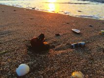 Sunrise on a beach with small stones Royalty Free Stock Photo