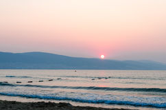 Sunrise on the beach. In a summer day Stock Photo