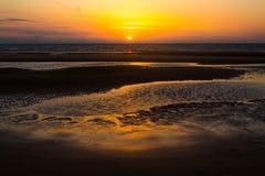 Sunrise on beach. Summer sunrise on beach at Mablethorpe,lincolnshire Royalty Free Stock Photos