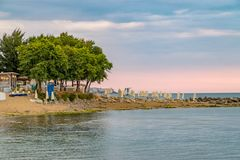 Sunrise at the beach in Sunny Beach on the Black Sea coast of Bulgaria. Blue bulgarian coastline dawn day horizontal morning no people nobody outdoor outside royalty free stock images