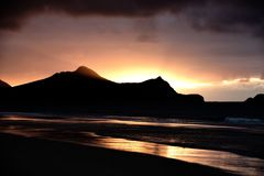 Sunrise from the beach at Vila Baleira, Porto Santo Island stock photography