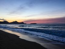 Sunrise from the beach at Vila Baleira, Porto Santo Island royalty free stock photography