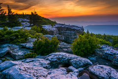 Sunrise at Bear Rocks Preserve, in Dolly  Sods Wilderness, Monon Royalty Free Stock Photo
