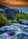 Sunrise at Bear Rocks Preserve, in Dolly  Sods Wilderness, Monon Royalty Free Stock Images