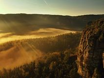 Sunrise in a beautiful mountain of Bohemian-Saxony Switzerland. Sandstone peaks and hills increased from foggy background Royalty Free Stock Image