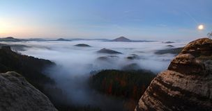 Sunrise in a beautiful mountain of Czech-Saxony Switzerland Royalty Free Stock Image