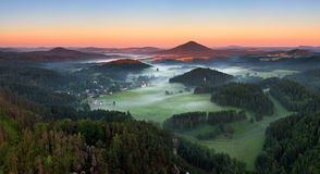 Sunrise in beautiful mountain Czech switzerland Royalty Free Stock Photo