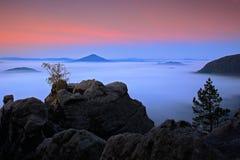 Before Sunrise in a beautiful mountain landscape of Czech-Saxony Switzerland. Stock Photography